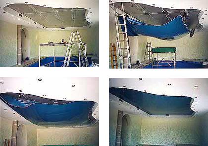 Montage einer Spanndecke in der Decke eines Swimming Pools
