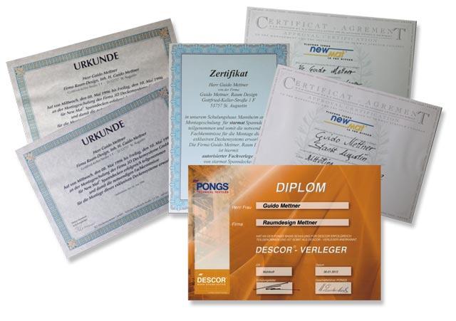 Urkunden Zertifikate kontinuierliche Weiterbildung Fortbildung