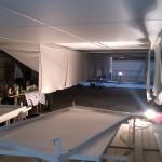 Spanndecke im Albertinum Blick in die Werkstatt auf dem Gerüst.