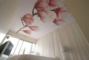Zimmerdecke renovieren Bonn –Spanndecke mit Blumen bedruckt